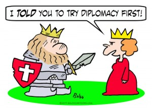 "King and Queen cartoon ""I told you to try diplomacy first."""