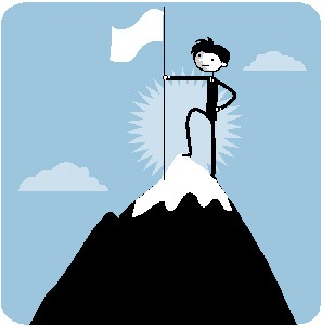 Stick Figure on Mountain top with a flag