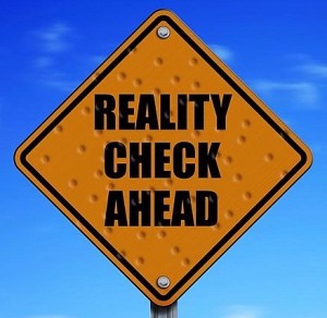 """Reality Check Ahead"" road sign"