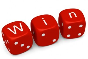 Dice spelling out win