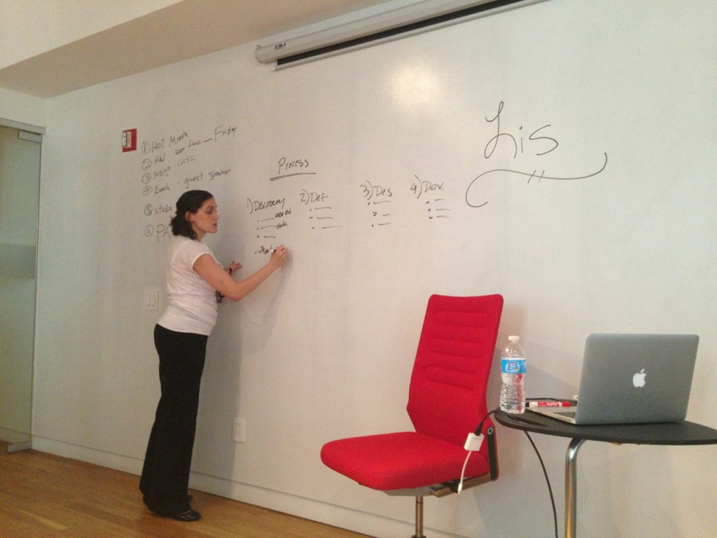 Lis writes her process on the board at general assembly